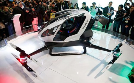 Blue-sky innovations like the EHang 184 autonomous passenger drone were revealed at CES Photo: AP